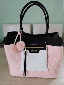Betsey Johnson Quilted Heart Bag in a Bag Tote Shoulder Bag w/ Makeup Pouch Pink