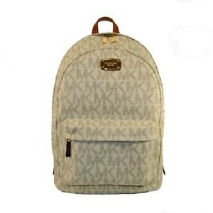Michael Kors Signature Jet Set Large Backpack Book Bag PVC Leather Vanilla Cream
