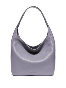 Michael Kors Leather Lena Large Shoulder Bag Hobo Tote Lilac Light Pale Purple