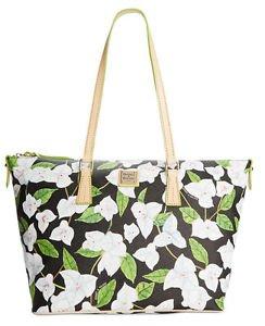 Dooney & Bourke Bougainvillea Zip Top Shopper Shoulder Bag Tote Floral Black