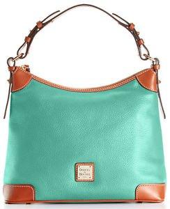 Dooney & Bourke Pebble Leather Large Hobo Shoulder Bag Mint Sea Green