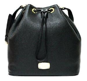 Michael Kors Large Jules Leather Drawstring Shoulder Bucket Bag Tote Black