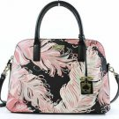 Kate Spade Rachelle Convert. Satchel Shoulder Bag Crossbody Pink Black Feathers