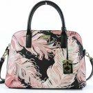 Kate Spade Rachelle Convert. Satchel Shoulder Bag Crossbody Pink Black Feathers