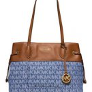 Michael Kors Marina Large Drawstring Shoulder Bag Tote Denim Blue Brown