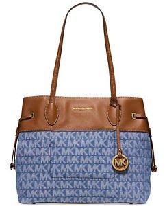 Michael Kors Marina Large Drawstring Shoulder Bag Tote Denim Blue Brown