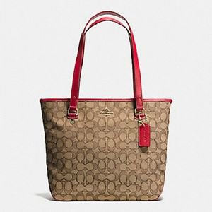 Coach Signature Zip Top Tote Shoulder Bag Khaki Red Jacquard Leather