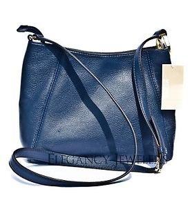 Michael Kors Leather Fulton Medium Messenger Crossbody Shoulder Bag Navy Blue