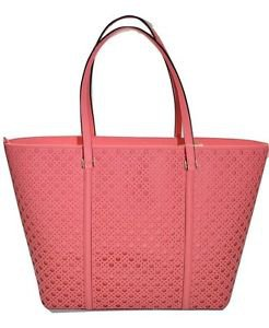 Kate Spade Newbury Dally XL Leather Tote Shoulder Bag Perforated Flamingo Pink