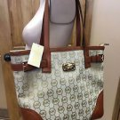 Michael Kors Signature Print Millbrook Tote Shoulder Bag Beige Luggage Brown