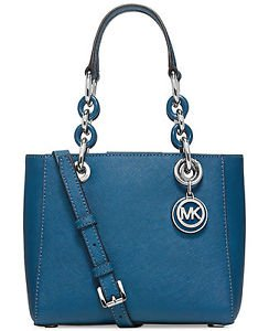 Michael Kors Leather Mini Small Cynthia Shoulder Bag Tote Crossbody Steel Blue