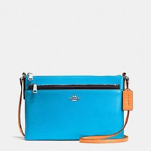 Coach 2 in 1 Pop Crossbody SHoulder Bag Colorblock Leather Azure Blue Orange