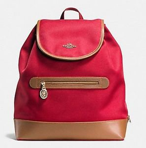 Coach Sawyer Backpack School Bag Canvas & Leather Classic Red Brown Back Pack