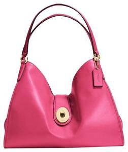 Coach Carlyle Smooth Leather Large Shoulder Bag Dahlia Pink SUMMER 16 COLLECTION