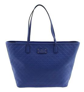 Kate Spade Large Margareta Penn Pl. Tote Shoulder Bag Embossed Spades Deep Blue