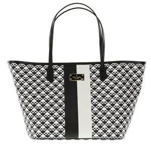 Kate Spade Small Margareta Penn Place Tote Shoulder Bag Black White Stripe