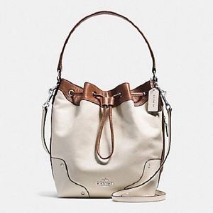 Coach Spectator Large Leather Mick Drawstring Crossbody Shoulder Bag Brown White