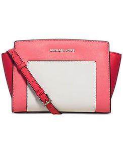 Michael Kors Leather Selma Medium Messenger Crossbody Shoulder Bag Coral Pink