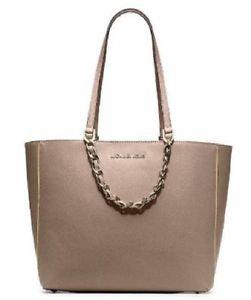 Michael Kors Pebbled Leather Harper E/W Large Tote Shoulder Bag Dark Khaki Brown