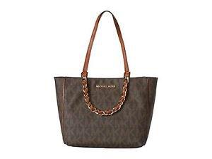 Michael Kors Harper E/W Large Tote Shoulder Bag Brown Tan Gold PVC Leather NWT