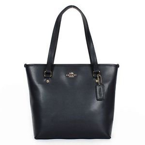 Coach Crossgrain Leather Zip Top Tote Shoulder Bag Midnight Blue Dark Navy