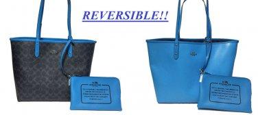 Coach Large Reversible City Tote Shoulder Bag Blue Signature Print + Pouch