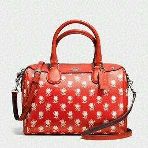 Coach Badlands Floral Leather Mini Bennett Satchel Shoulder Bag Crossbody Orange