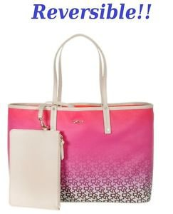 DKNY Reversible Coated Canvas PVC Leather Tote SHoulder Bag w/ Matching Wristlet