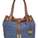 Michael Kors Signature Marina Large Drawstring Shoulder Tote Denim Blue Brown