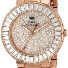 Juicy Couture Womens Grove Watch Stainless Steel Rose Gold Crystal Pave NIB 38mm