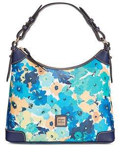 Dooney & Bourke Floral Print Large Somerset Hobo Shoulder Bag Aqua Navy Blue