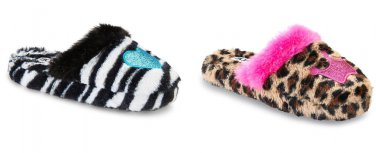 Bongo Girls Slippers S-XL 11-3 Zebra or Leopard Heart Crown Plush Pink Cheetah