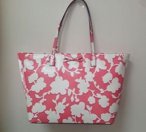 Kate Spade Large Margareta Sawyer Tote Shoulder Bag Flamingo Pink White Floral