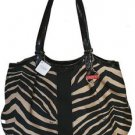 Coach Signature Stripe Devin Zebra Print Large Shoulder Bag Tote Black Cream
