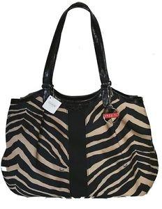 Coach Signature Stripe Devin Zebra Print Large Shoulder Bag Tote Black Cream
