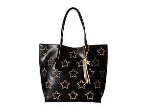 Betsey Johnson Star Studded Stud Large Tote Shoulder Bag Black Gold PVC