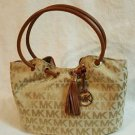 Michael Kors Signature Print Medium Ring Tote Shoulder Bag Beige Camel Brown
