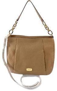 Michael Kors Hallie Large Leather Convertible Shoulder Bag Crossbody Khaki Brown