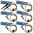 6-Pack PCIe VER 006C 16x to 1x Powered Riser Adapter Card w/ 60cm USB 3.0 4pin