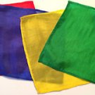 "4 Set MAGICIANS 6"" SILKS Magic Trick Red Yellow Blue Green Perfect for Thumb Tip"