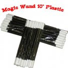 """12 Pack MAGIC WANDS 10"""" Plastic Magician Trick Set Toy Black White Tips Prop NEW"""
