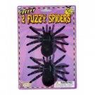 "2 BLACK FUZZY SPIDERS SET Fake Joke Prank Scary Halloween Decoration Prop 4"" Bug"