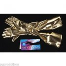 "GOLD METALLIC 24"" LONG GLOVES Womens Stage Costume Dress Opera Burlesque Shiny"