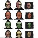4 Set LENTICULAR MASKS 3D Flat Face Changes Halloween Black Hood Skull Monster