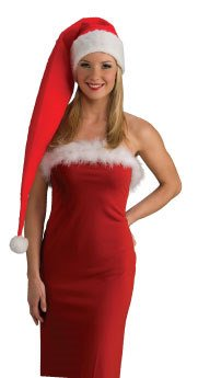 LONG FELT SANTA HAT Red & White Adult Christmas Costume Night Cap Elf Stocking