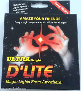 ULTRA BRIGHT D'LITE THUMB TIPS 2 Finger Magic Trick Magician RED PAIR LED Light