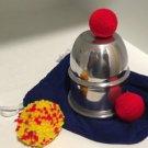 ALUMINUM METAL CHOP CUP Magic Trick Magician Close Up Set 2 Crochet Balls + Bag