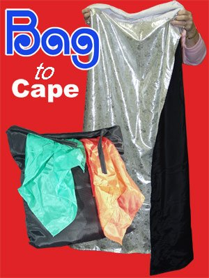 MAGIC BAG TO CAPE Black To White Magicians Trick Gag Stage Costume Prop Kid Show