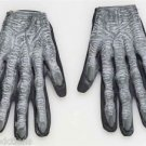 Adult ZOMBIE GLOVES Rubber Fingers Black Hand Halloween Monster Bone Skeleton