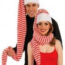 1 SANTA COZY SCARF WRAP HAT Bell Adult Christmas Costume Cap Elf Stripe Stocking